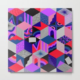 Isometric Cubes - Teal/Orchid/Strawberry Metal Print