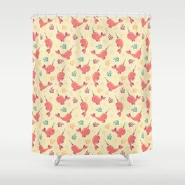 To the Window to the Narwhal - Coral & Cream Shower Curtain