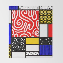 Mondrian in a Memphis Style Throw Blanket