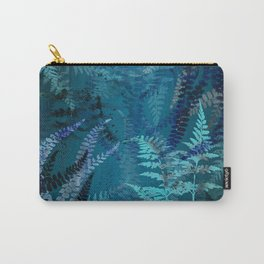 Night Forest Blue Fern Leaves Botanical Abstract Carry-All Pouch