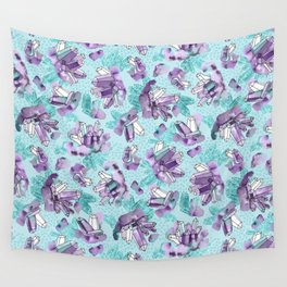 Amethyst Crystal Clusters / Violet and Aqua Wall Tapestry