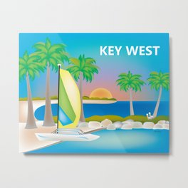 Key West, Florida - Skyline Illustration by Loose Petals Metal Print