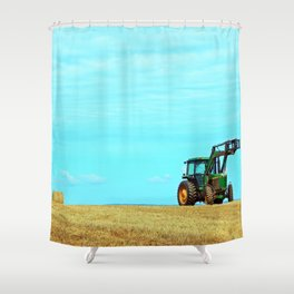 Tractor and Hay Roll on the Ridge Shower Curtain