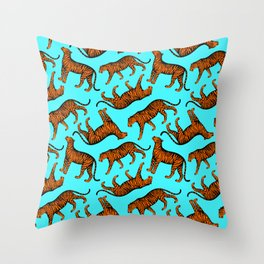 Tigers (Blue and Orange) Throw Pillow