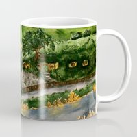 lord of the rings Mugs featuring Lord of the Rings Hobbiton by KS Art & Design
