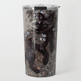 Black Fox and Star Flower Jasmine Tangle Travel Mug