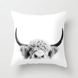 Peeking Cow BW Throw Pillow