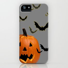 HALLOWEEN FLYING  BLACK BATS & CARVED PUMPKIN FACE iPhone Case
