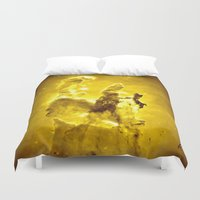 nebula Duvet Covers featuring Yellow neBUla  by 2sweet4words Designs