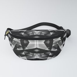 Exclusive mosaic pattern of chaotic black and white fragments of glass, metal and ice floes. Fanny Pack