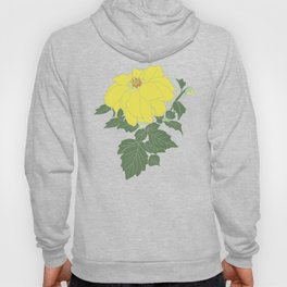 Yellow Dahlia Flower Illustrated Print Hoody