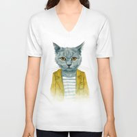 kitty V-neck T-shirts featuring Kitty by Leslie Evans