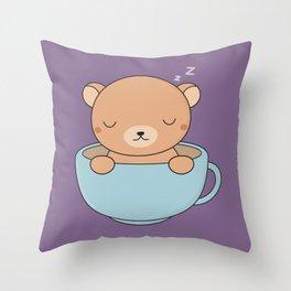 Kawaii Cute Coffee Brown Bear Throw Pillow
