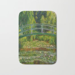 Claude Monet Impressionist Landscape Oil Painting-The Japanese Footbridge and the Water Lily Pool Bath Mat