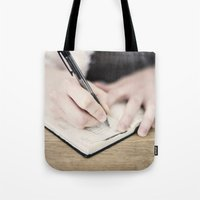 write Tote Bags featuring WRITE by Marte Stromme