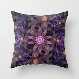 UltraViolet Glass Garden of Midnight DahliaFlowers Throw Pillow