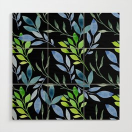 Blue and Green Leaves Wood Wall Art