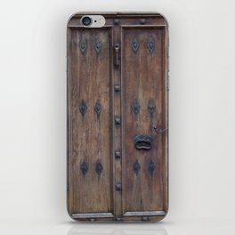 Old Spanish Brown Wooden Door with Black Bolts iPhone Skin