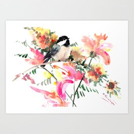 Chickadee bird art design, Birds and Flowers Art Print