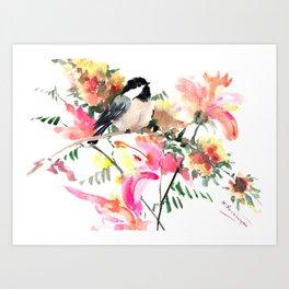 Chickadee bird art design, Birds and Flowers Art Print
