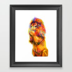 Laughing lion Framed Art Print