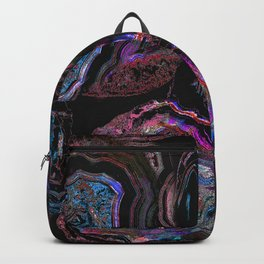 Magenta purple cut stone marble pattern Backpack