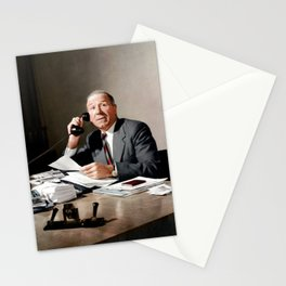 Sir Matt Busby on phone in colour Stationery Cards