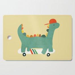 Dinosaur on retro skateboard Cutting Board