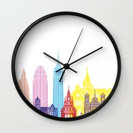 Minneapolis V2 skyline pop Wall Clock
