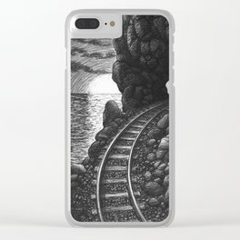 Coast train at sunrise Clear iPhone Case