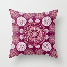Berry and Bright Patterned Mandalas Throw Pillow
