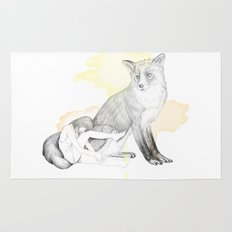 girl and fox Rug