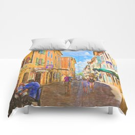 Medieval street in Provence Comforters