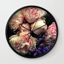 Peony pink and purple delight, old masters Wall Clock