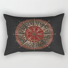 Vegvisir - Viking Compass - Black and red Leather and gold Rectangular Pillow