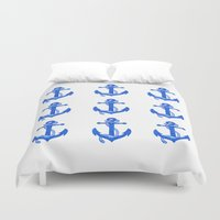 anchors Duvet Covers featuring Anchors by Chilligraphy