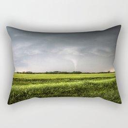 White Tornado - Twister Emerges from Rain Over Field in Kansas Rectangular Pillow