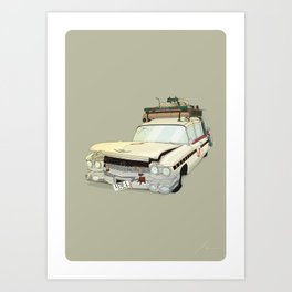 80´s tv and films cars (ghostbusters) Art Print