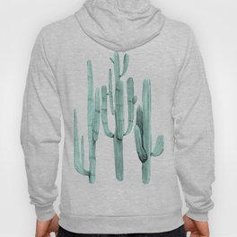 Turquoise Cactus Watercolor Painting Hoody