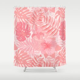 Living Coral Tropical Palm Jungle Shower Curtain