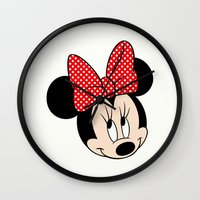 minnie mouse Wall Clocks featuring So cute Minnie Mouse by Yuliya L