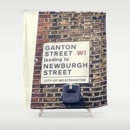 London street sign Shower Curtain