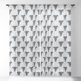 Cute Black Dog Faces on Abstract Gray Geometric Pattern Sheer Curtain