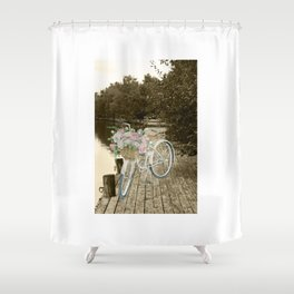 White Vintage Bicycle on a Pier in Oulu Finland Shower Curtain