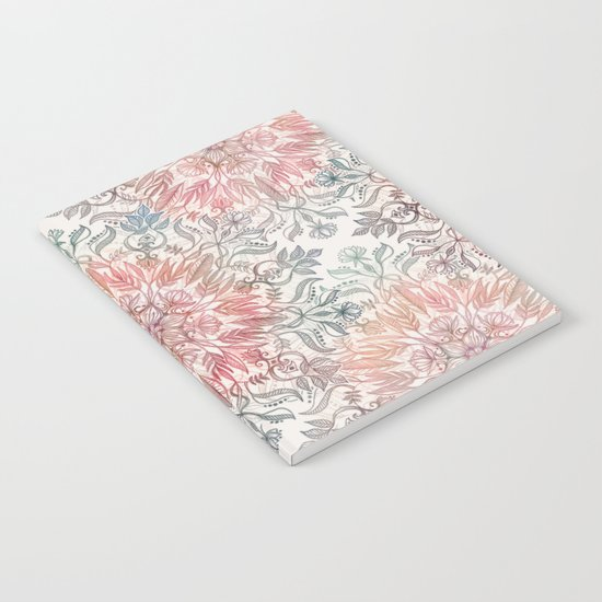 Autumn Spice Mandala in Coral, Cream and Rose Notebook