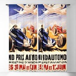 1947 Grand Prix Automobile verses plane vintage advertisement wall art Blackout Curtain