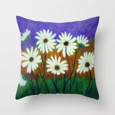 White daisies-Abstract Throw Pillow