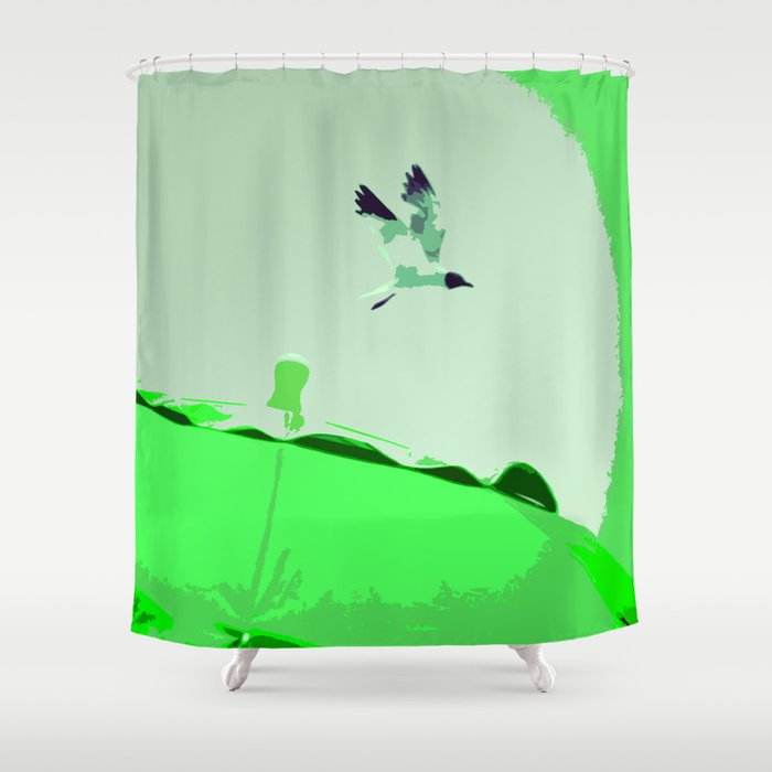 Beach Graphics No 2 Kelly Green Shower Curtain