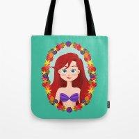 ariel Tote Bags featuring Ariel  by Joey Ellson
