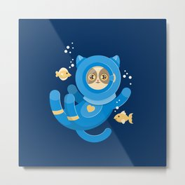 Purrfect Dive Metal Print
